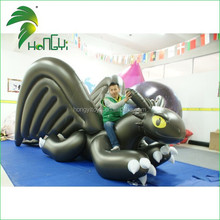 Popular PVC Inflatable Black Toothless Dragon With Wings From Hongyi
