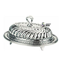 Exquisite Design Stainless Steel Oval Crown Dinner Plate and Cover Tableware Set