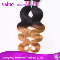 fast DHL shipping 100% human colored two tone hair weave 1b/30 color Ombre hair