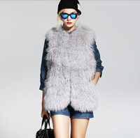 2016 new fashion women's 100% real tibet sheep fur vest