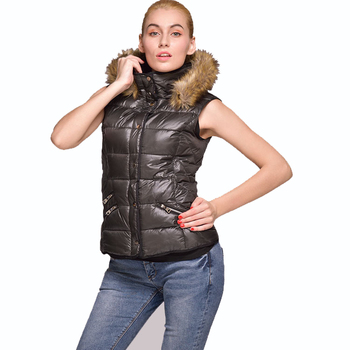 100% polyester women's wasicoat with fur hood