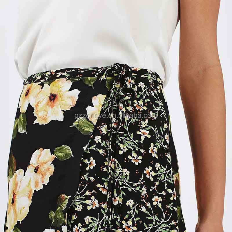 Flower printed side split ladies skirt, fashion women wrap skirt