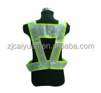sewing reflective T/C or ployester fabric and PVC ribbon tape on reflective safety belt