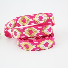Custom fold over elastic printed hair tie