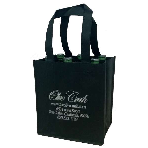 recycled black 6 wine nonwoven shopping bag