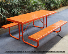 Perforated metal outdoor table and bench steel picnic table