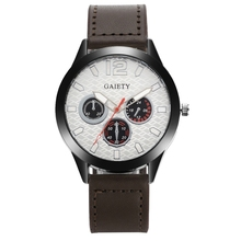 Gaiety Top Brand Men Fashion Luxury Watches Leather Strap Quartz Wristwatch Vintage Style Sport Watch