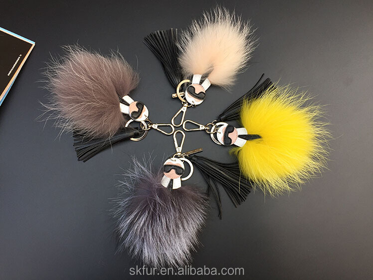 High quality real fur key chain for bag