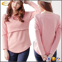 OEM wholesale high quality maternity wear Women's Sweater Breastfeeding fleece lining Tunic Shirt Nursing Pullover Tops