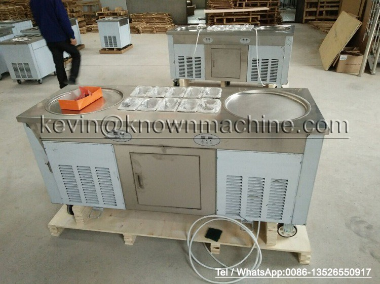 Double circle ice pan / Double circle ice roll machine / Double ice roll pan