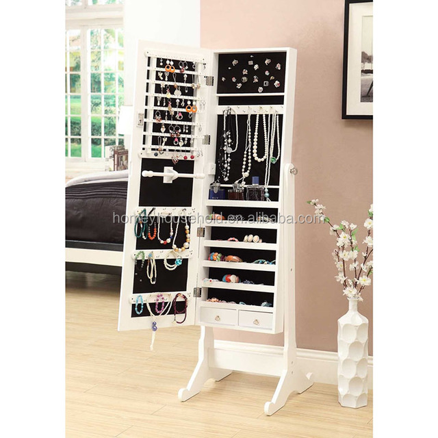 White Wooden MDF Free Standing Cheval Mirror Jewelry Armoire Cabinet