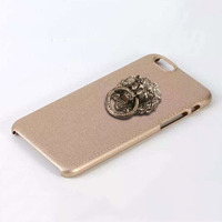 Lion Head Ring Metal Holder Leather Phone Case For Iphone 6 Phone Bag with free screen protector