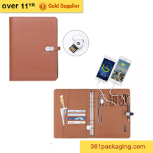 2017 popular customized pu notebook with power bank and usb