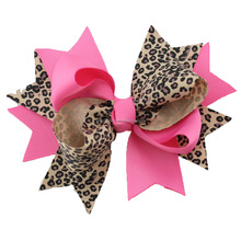 Fashion Leopard Styles Kids Bow Hair Accessories Little Girls Cute Christmas Holiday Hair Clips