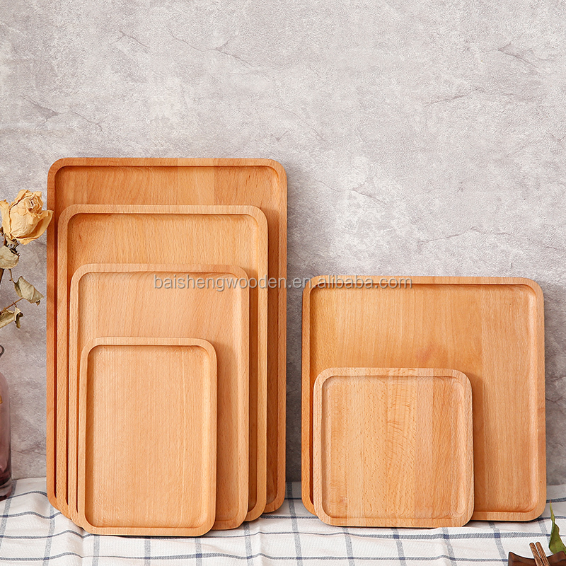 custom beech wood tray restaurant wooden food serving trays wholesale