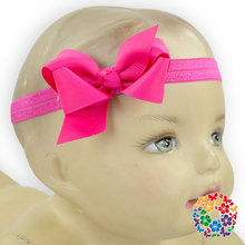 Baby girl headband with hot pink bow infant girls ribbon bow with elastic loop hair ribbon bow ribbon making