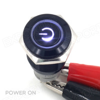 Black Push Button Switch Latching White LED 16mm