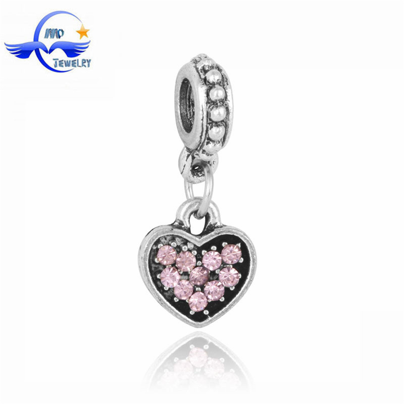 Fashion Scarf Jewelry Wholesale Pink Crystal Heart Metal Beads for Jewelry Making