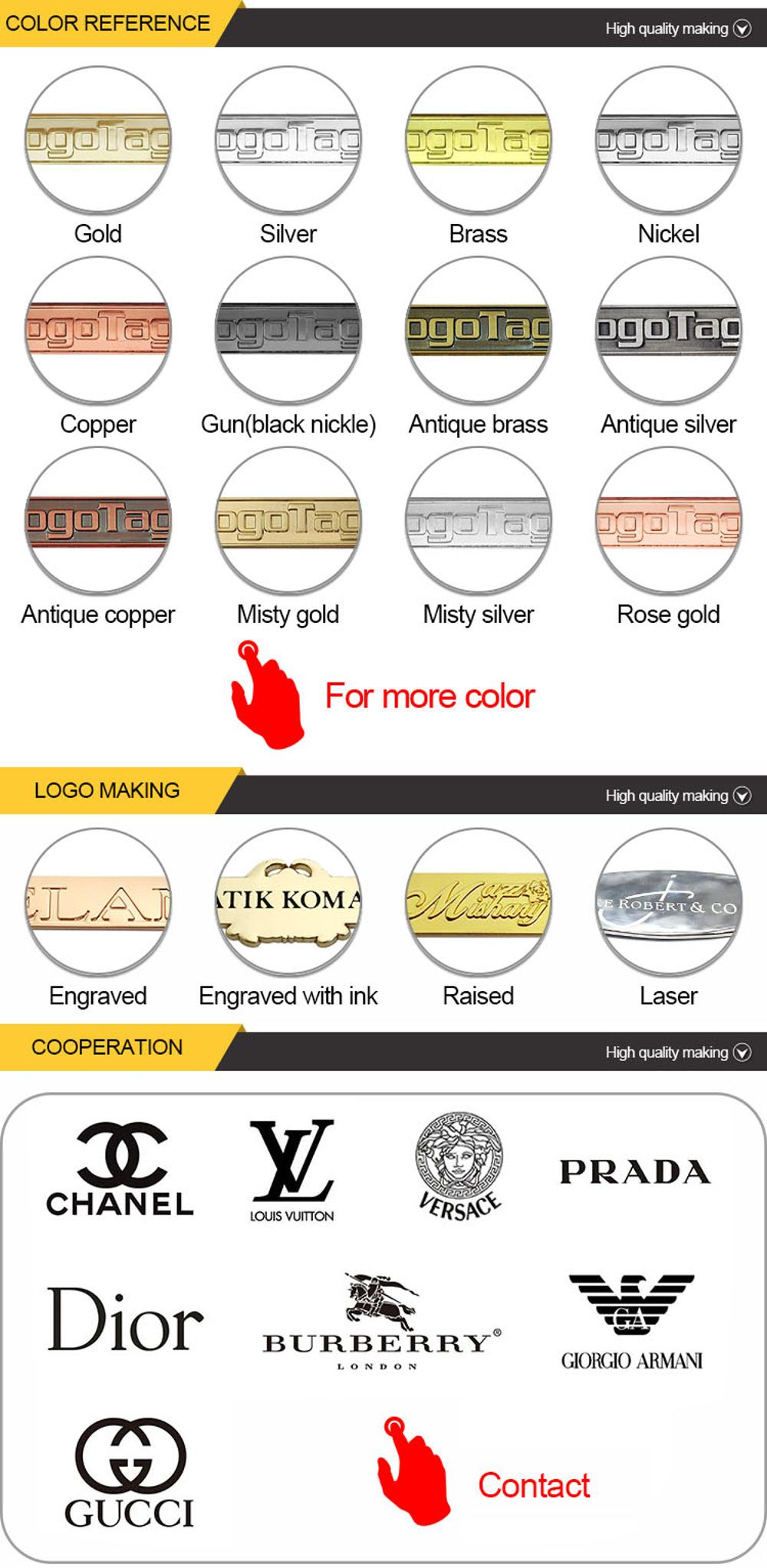 Oval 2 holes gold custom brand name logo sew labels metal tag for clothing