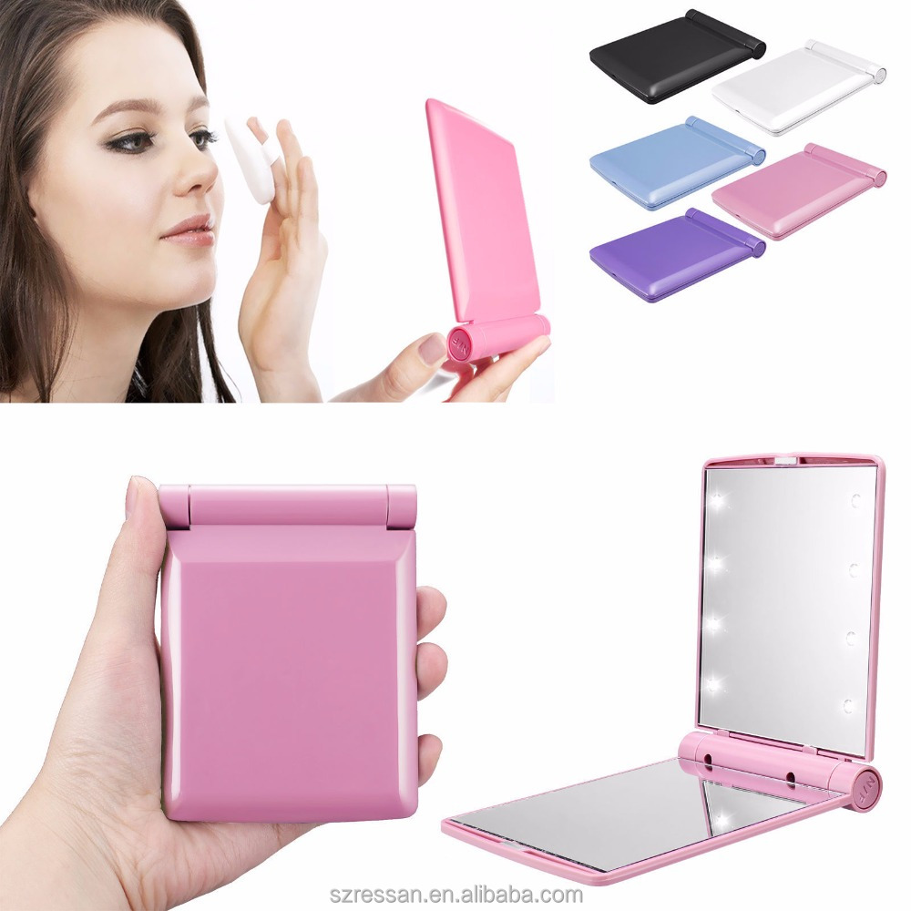 2017 Pink Compact Handbag Packet Portable Travel Makeup Mirror With Led Lights