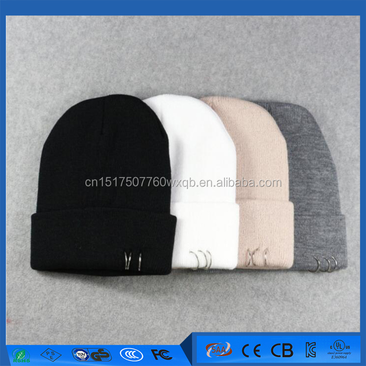 Customized Iron ring rivets wool cap autumn and winter simple fashion cap