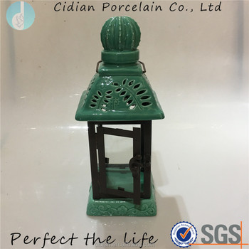Ceramic cactus shape candle hanging lantern light for outdoor decoration