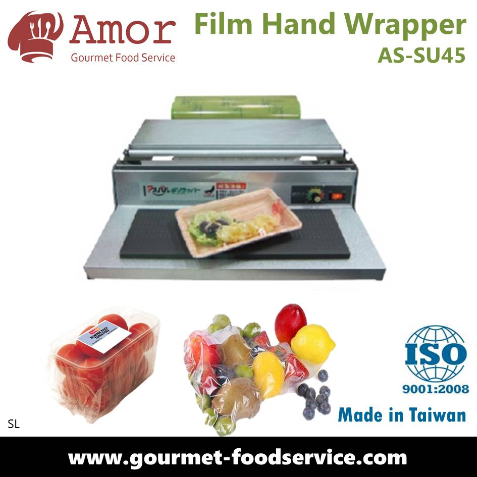 Hand cling film wrapping machine for food fruit rice sushi meat packaging wrapper