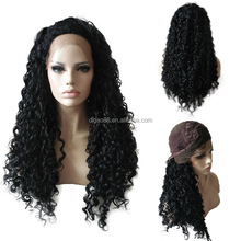 High Quality Long Black Kinky Curly American African wigs Heat Resistant Fiber Synthetic Lace Front Wig for Black Women