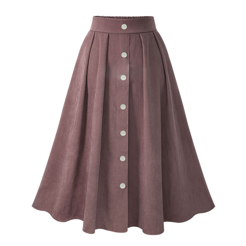 European station 2018 autumn and winter new solid color A word skirt high waist single-breasted Slim large swing skirt
