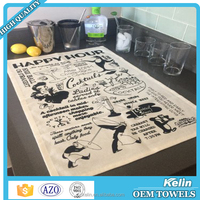 100% cotton LUCK CAT printting series custom printed kitchen tea towel