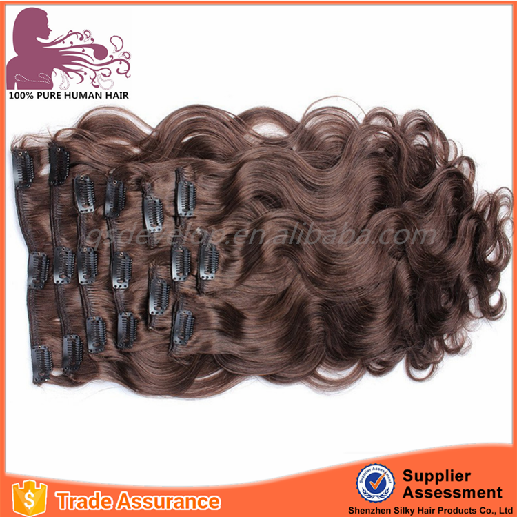 Hair factory wholesale high quality 100% human hair curly clip in hair extensions