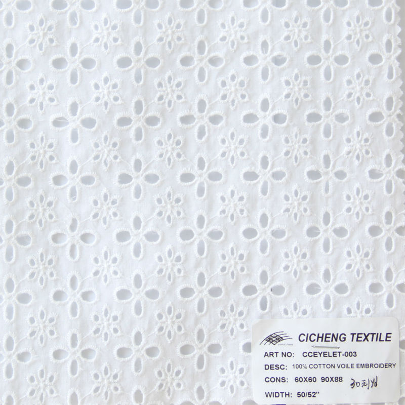 Onway textile 2015 white Japanese embroidered cotton dotted swiss voile fabric