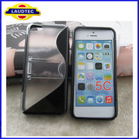 New Arrival Black And Clear S Line Case With Holder For iphone 5C