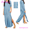 Online shopping one piece long sleeve maxi shirts denim dress for women