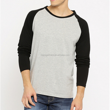 Mens Raglan Long Sleeve Fitted Cotton Plain Contrast Color GYM T Shirt