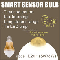 L2u+ ( 5W/8W ) Ultra Large Detection Range PIR Motion Sensor LED Light Bulb with Lux learning & Timer selection ,TE LED Chip