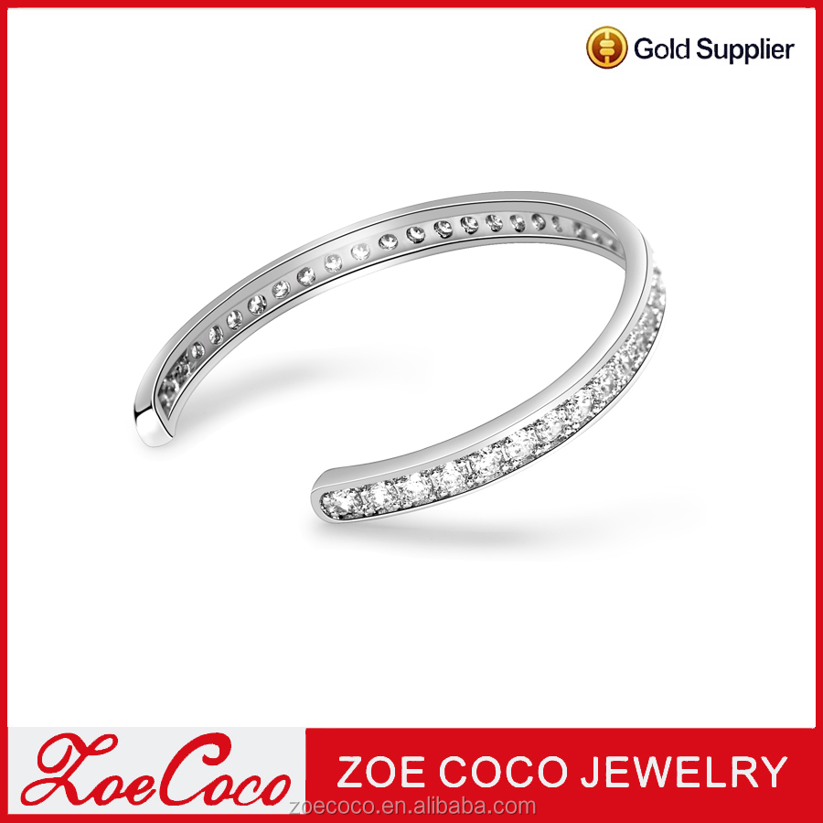 High quality zircon bangle new fashion design jewelry for girl, China bangle suppliers