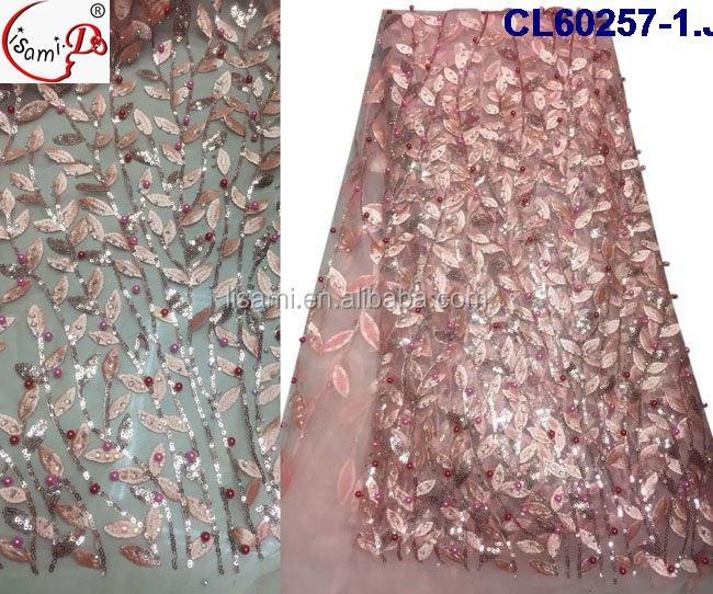 cl60257 wholesale sequainse stoned new arival net lace with pink color polyeaster chemical material for UK