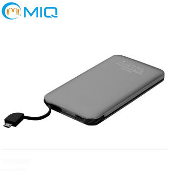 Free adapter built-in cable mobile charger power bank with pouch