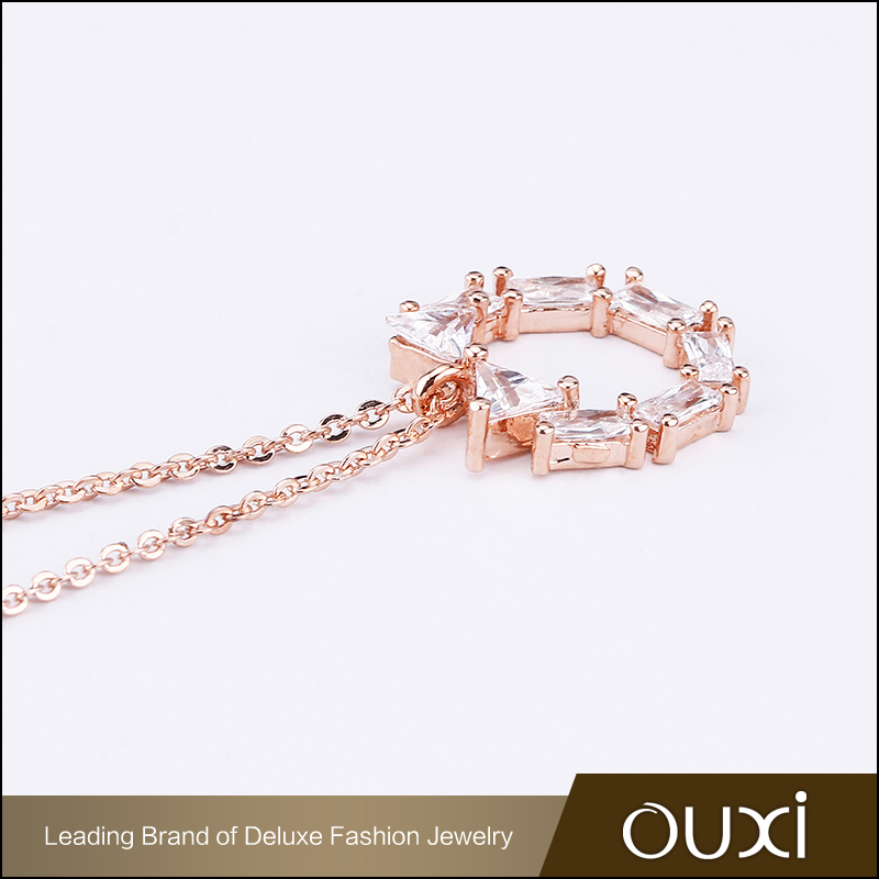 Fashion trendy 18k rose gold long chain lady jewelry necklace with white crystal round pendant chain necklace