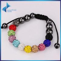 2017 fashion 10mm shamballa beads jewelry charm beaded bracelet