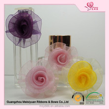 mini satin ribbon roses for small perfume bottle ornaments/little ribbon bows for wine bottle