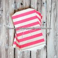 RUGBY STRIPED FAVOR BAGS - PINK - MEDIUM crafty colorful BIG STRIPE paper bags party favour giveaway striped treat bags