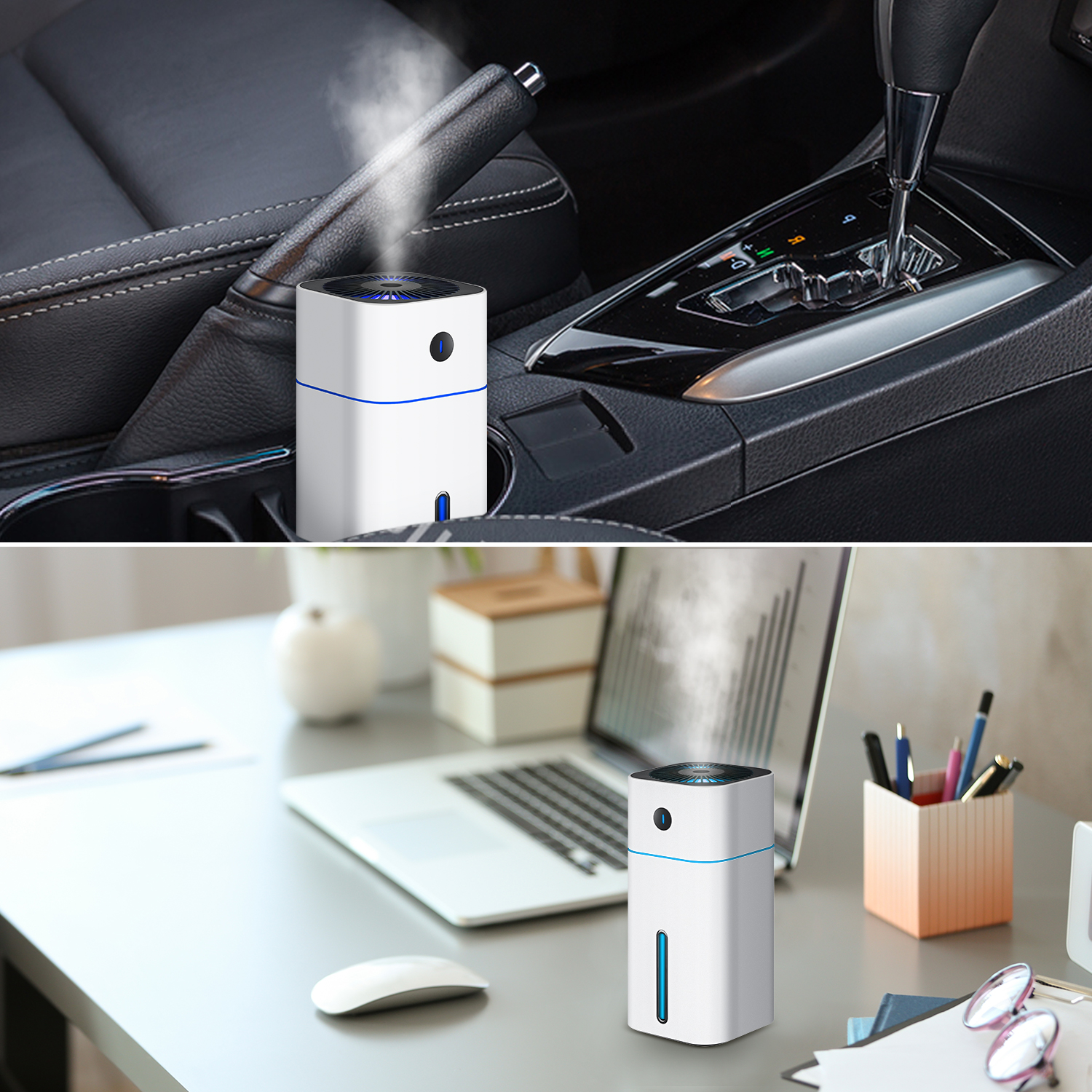 Portable Home Bed Car Use USB Mini Car Humidifier With 7 Colors Led Night Light
