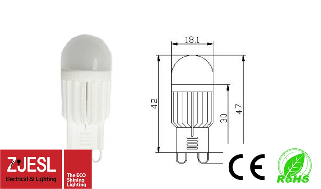CE RoHS compliant G9 3W lm250-300 adjustable Led bulb