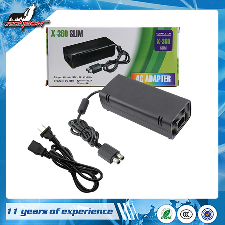 Hot sale Video Game Accessories Power Supply AC Adapter for Xbox360 Slim console PAL