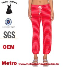 WOMEN NEW FASHION OEM FACTORY COTTON STRIPE CAPRI SWEAT JOGGER PANT