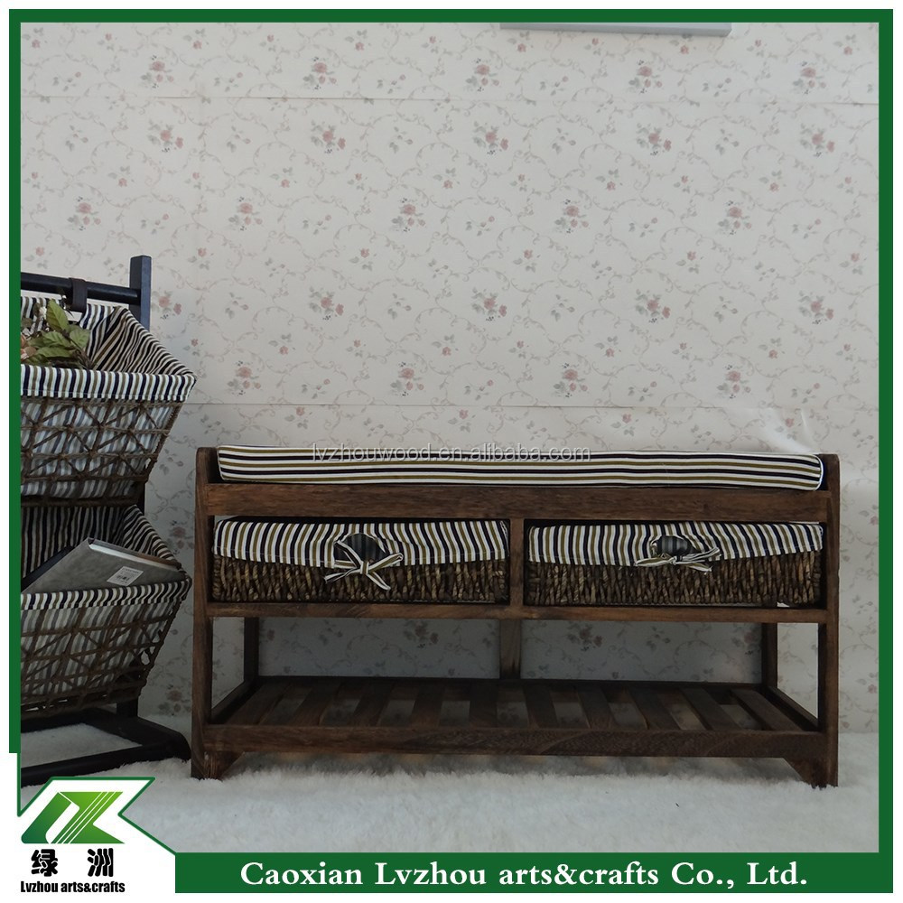 Sepia style wood storage bench / long shoe bench for change shoes