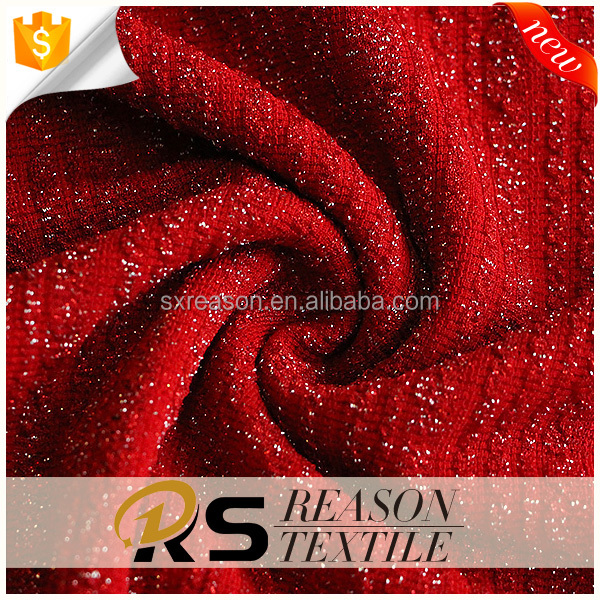 2017 colorful hacci jacquard knit fabric 77%polyester 17%sliver metallic yarn 6%spandex