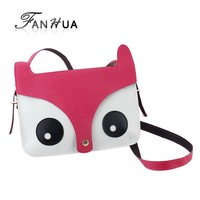 Lovely Fox Shape Decoration PU Leather Mini Shiny Solid Four Candy Color Messenger Bags For Women